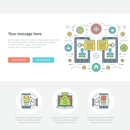 user icon: Flat line Business Concept Web Site Header Vector illustration. Modern thin linear stroke vector icons. For website graphics, Mobile Apps, Web Page Layout design. Vector Icons.