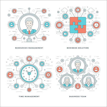 group icon: Flat line Management, Team Building, Success, Employee Search, Business Concepts Set Vector illustrations. Modern thin linear stroke vector icons. Website Header Graphics, Banner, Infographics Design Illustration