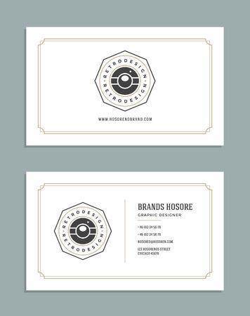 business card design: Business Card Design and Retro Style Template Logo. Vector Design Element Vintage Style for Label. Business Card Template. Illustration