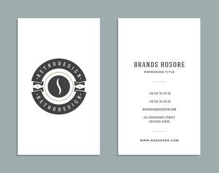 coffee bean: Business Card Design and Retro Style Template Coffee Shop Logo. Vector Design Element Vintage Style for Label. Business Card Template.