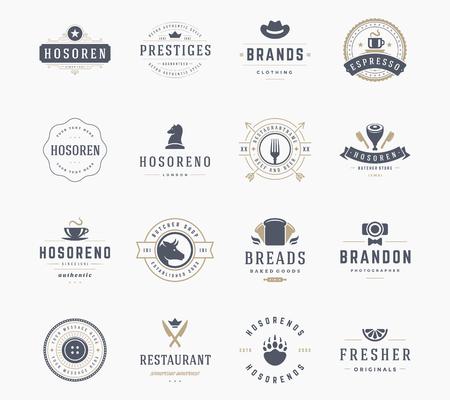 Vintage Logos Design Templates Set, Vector Design Elements. Logo Elements, Logo symbols, Logo Icons, Logos Vector, Symbols Design, Retro Logos. Cow Head Logo, Butchery Label, Restaurant, Bread Icon.