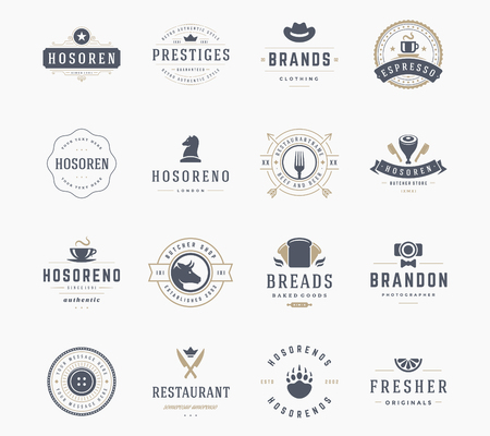 Vintage Logos Design Templates Set, Vector Design Elements. Logo Elements, Logo symbols, Logo Icons, Logos Vector, Symbols Design, Retro Logos. Cow Head Logo, Butchery Label, Restaurant, Bread Icon.
