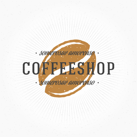 coffee bean: Coffee Shop Hand Drawn Logo Template. Vector Design Element Vintage Style for Logotype, Label, Badge, Emblem. Coffee Logo, Coffee Bean Logo, Coffee Symbol, Coffee Icon, Retro Logo.