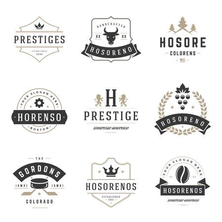 Vintage plantillas de diseño establecidas. Elementos del vector de recogida, iconos Símbolos, etiquetas retro, insignias, siluetas. Ilustración de vector