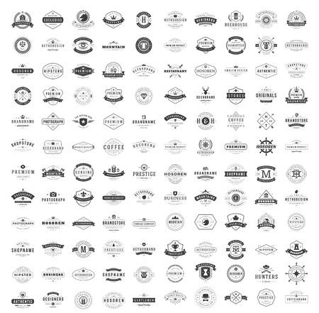 Conjunto De Plantillas De Diseño De Logos Vintage. Logotipos vectoriales colección de elementos, iconos símbolos, etiquetas retro, insignias, siluetas. Colección grande 120 artículos.