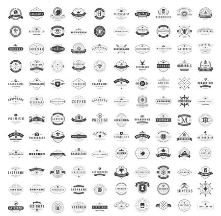 Vintage Logos Design Templates Set. Vector logotypes elements collection, Icons Symbols, Retro Labels, Badges, Silhouettes. Big Collection 120 Items. Zdjęcie Seryjne - 57142358