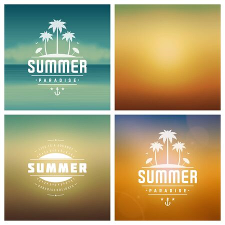 retro backgrounds: Summer Holidays Retro Typography Labels or Badges Design and Vector Backgrounds. Blurred Skyline, Beach and Sun Light Backdrops.