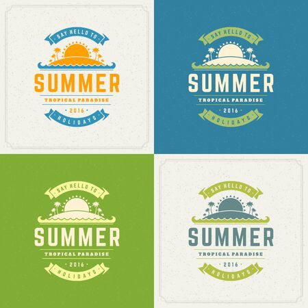 retro backgrounds: Summer Holidays Retro Typography Labels or Badges Design and Vector Backgrounds for Party Posters Flyers and Greeting Cards. Textured Backdrop.