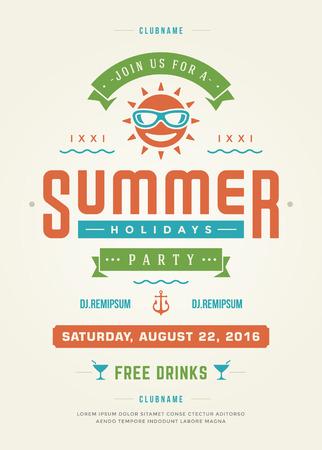 Vacaciones de verano Beach Party Tipografía Poster o Flyer Design. Evento de club nocturno o invitación Vector ilustración estilo retro.