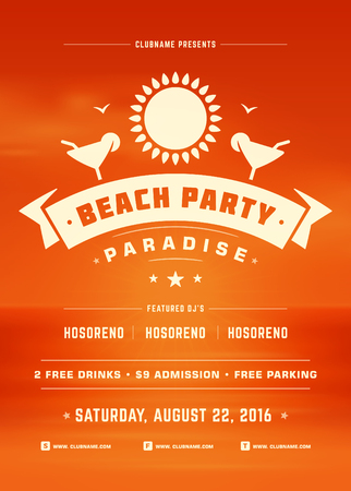Summer Holidays Beach Party Typography Poster or Flyer Design. Night Club Event or Invitation Vector Illustration Retro Style.