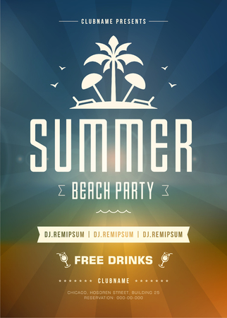 event party: Summer Holidays Beach Party Typography Poster or Flyer Design. Night Club Event or Invitation Vector Illustration Retro Style.