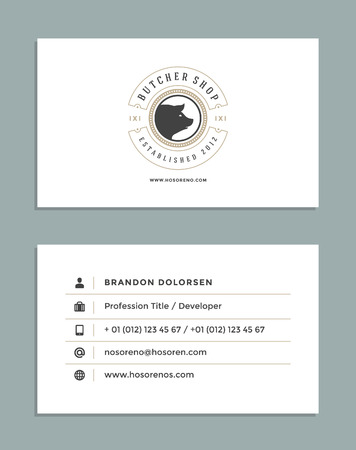 business card template: Business Card Design and Retro Style Logo Template. Vector Design Element Vintage Style for Label. Business Card Template.