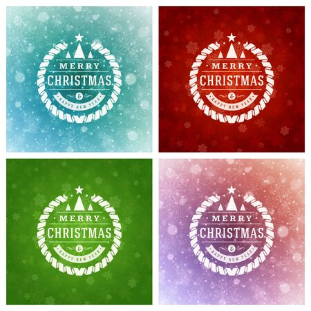 vector ornament: Christmas Typography Greeting Cards Design Set. Merry Christmas and Holidays wishes retro style vintage ornament decoration. Christmas lights and Snowflakes Backgrounds. Vector illustration EPS 10.