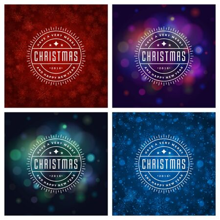 greeting cards: Christmas Typography Greeting Cards Design Set. Merry Christmas and Holidays wishes retro style vintage ornament decoration. Christmas lights and Snowflakes Backgrounds. Vector illustration EPS 10.