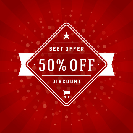 discount poster: Sale Banner or Label Vector Design for Promotional Brochure or booklet, Discount Poster, Shopping flyer, Clearance advertising. Red rays background.