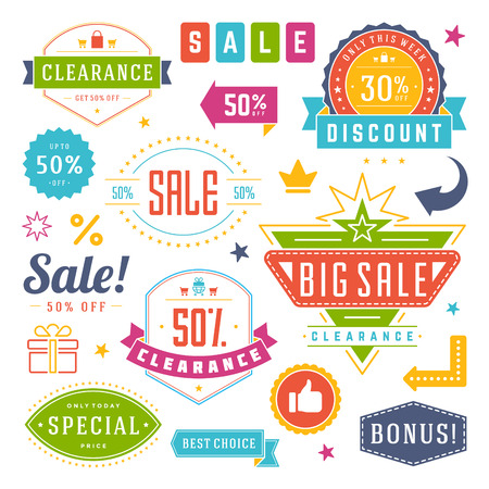 sale icons: Sale Tags and Labels Design Vector Vintage Set for Banners, Promotional Brochures, Discount Poster, Shopping Flyer, Clearance Advertising. Collection Sale objects and icons.