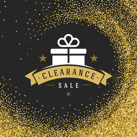 sell: Sale Label or Tag Design on Gold Background Vector Vintage. Sale banner, Discount flyer, Shopping poster. Glitter Sparkles Bright Confetti.