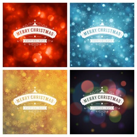 retro backgrounds: Christmas Typography Greeting Cards Design Set. Merry Christmas and Holidays wishes retro style vintage ornament decoration. Christmas lights and Snowflakes Backgrounds. Vector illustration EPS 10.