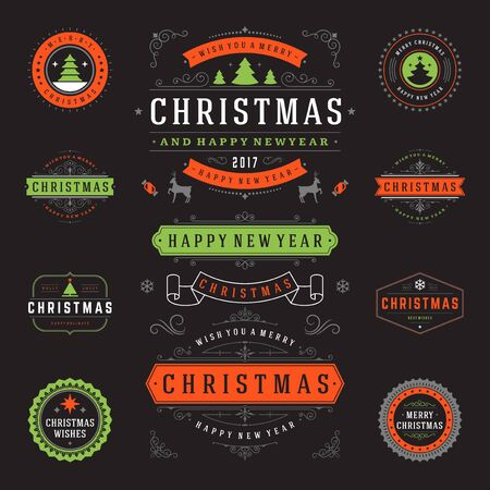 decoration objects: Christmas Labels and Badges Vector Design Elements Set. Merry Christmas and Holidays Wishes Retro Typography Greeting Cards, Posters and Flyers, Decoration objects and symbols, vintage ornaments.