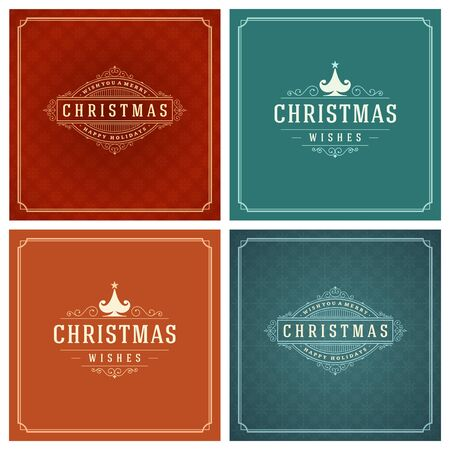 Christmas Typography Greeting Cards Design Set. Merry Christmas and Holidays wishes retro style vintage ornament decoration. Texture Snowflakes pattern background and Frame Vector illustration EPS 10. Illustration