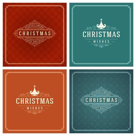 Typographie de Noël Cartes de voeux de conception Set. Joyeux Noël et Vacances souhaite style rétro vintage ornament décoration. Texture Snowflakes pattern background et cadre Vector illustration EPS 10.