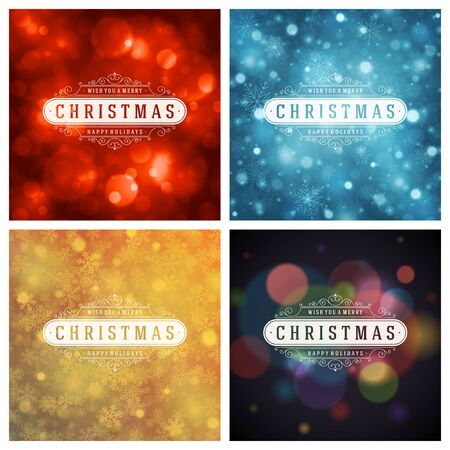 happy new year text: Christmas Typography Greeting Cards Design Set. Illustration