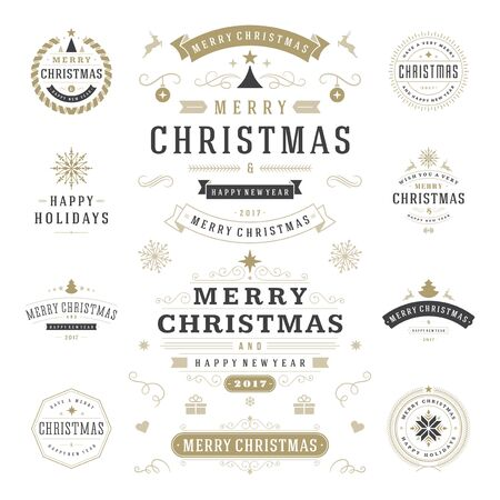 christmas objects: Christmas Labels and Badges Vector Design Elements Set. Merry Christmas and Holidays Wishes Retro Typography Greeting Cards, Posters and Flyers, Decoration objects and symbols, vintage ornaments.