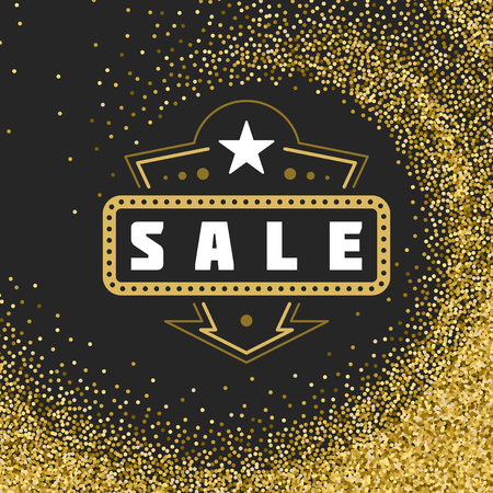 discount tag: Sale Label or Tag Design Vector Vintage. Sale banner, Discount flyer, Shopping poster. Glitter Sparkles Bright Confetti.