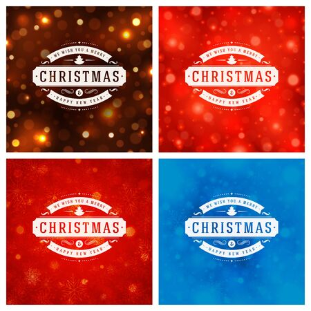 retro backgrounds: Christmas Typography Greeting Cards Design Set. Merry Christmas and Holidays wishes retro style decoration. Christmas lights and Snowflakes Backgrounds. Vector illustration EPS 10.