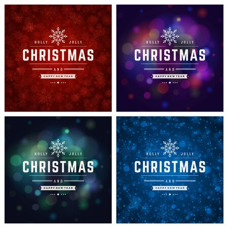 happy new year text: Christmas Typography Greeting Cards Design Set. Merry Christmas and Holidays wishes retro style decoration. Christmas lights and Snowflakes Backgrounds. Vector illustration EPS 10.