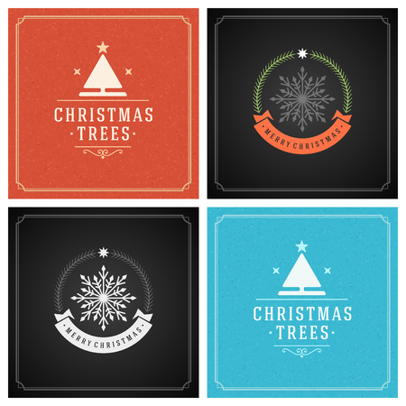 festive background: Christmas Typography Greeting Cards Design Set. Holidays wishes retro style vintage ornament decoration. Texture Snowflakes pattern background and Frame Vector illustration EPS 10.