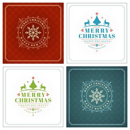 Boże Narodzenie Typografia Pozdrowienia Zestawy Projektów. Święta pragną stylu retro dekoracji ornamentem zabytkowym. Tekstury Snowflakes wzór tła i ilustracji wektorowych ramki EPS 10. Ilustracje wektorowe