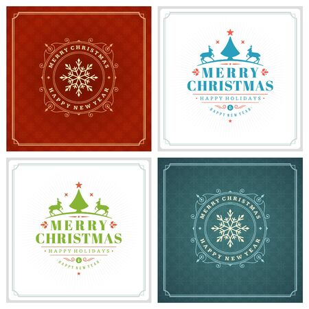 gift card: Christmas Typography Greeting Cards Design Set. Holidays wishes retro style vintage ornament decoration. Texture Snowflakes pattern background and Frame Vector illustration EPS 10.