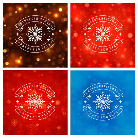 happy new year text: Christmas Typography Greeting Cards Design Set. Merry Christmas and Holidays wishes decoration. Christmas lights and Snowflakes Backgrounds. Vector illustration EPS 10.