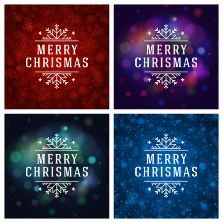 happy new year text: Christmas Typography Greeting Cards Design Set. Merry Christmas and Holidays wishes decoration. Christmas lights and Snowflakes Backgrounds. Vector illustration.