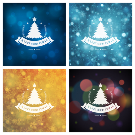 christmas backgrounds: Christmas Typography Greeting Cards Design Set. Merry Christmas and Holidays wishes decoration. Christmas lights and Snowflakes Backgrounds. Vector illustration.