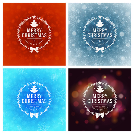 happy new year text: Christmas Typography Greeting Cards Design Set. Christmas lights and Snowflakes Backgrounds. Vector illustration. Illustration