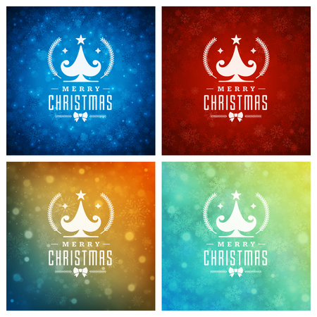 Christmas Typography Greeting Cards Design Set. Christmas lights and Snowflakes Backgrounds. Vector illustration. Illustration