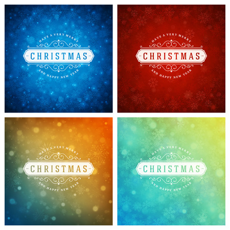 gift card: Christmas Typography Greeting Cards Design Set. Christmas lights and Snowflakes Backgrounds. Vector illustration. Illustration