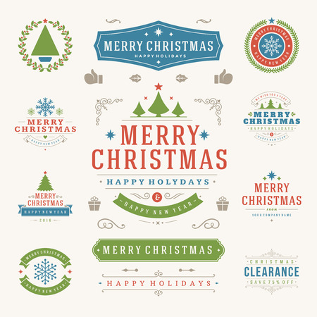 decoration objects: Christmas Labels and Badges Vector Design Elements Set. Merry Christmas and Holidays Wishes Retro Typography Decoration objects and symbols, vintage ornaments. Illustration
