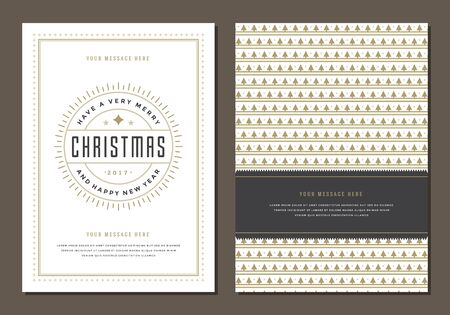 label design: Christmas Greeting Card or Poster Design Template. Merry Christmas and Holidays Wishes Retro Typography Label and place for text. Vector illustration EPS 10.