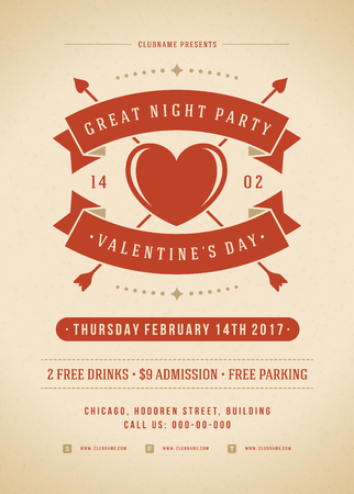 valentino: Happy Valentines Day Party Invitation or Poster Vector illustration. Retro typography design. Heart shape love symbol and elements, flyer template.