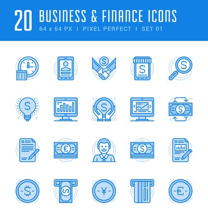 resize: Line icons set. Flat thin linear stroke vector Business and Finance concepts. For website graphics, Mobile Apps, Infographics. Pictogram pack. Easy resize to 128, 256, 512 pixels, easy edit colors.