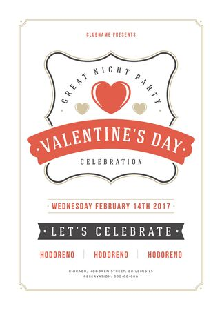 flyer background: Happy Valentines Day Party Invitation or Poster Vector illustration.