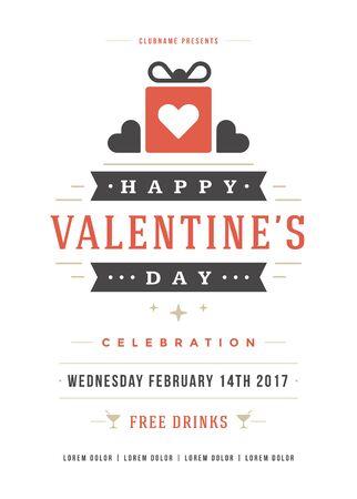 illustration invitation: Happy Valentines Day Party Invitation or Poster Vector illustration.