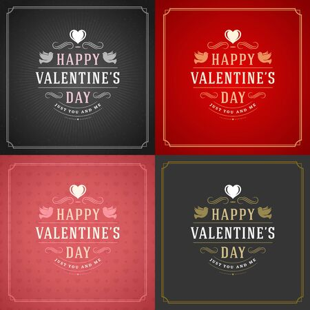 heart month: Happy Valentines Day Greeting Cards or Posters Set