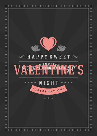 romance: Happy Valentines Day Party Invitation or Poster Vector