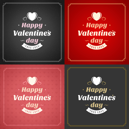 letter: Happy Valentines Day Greeting Cards or Posters Set