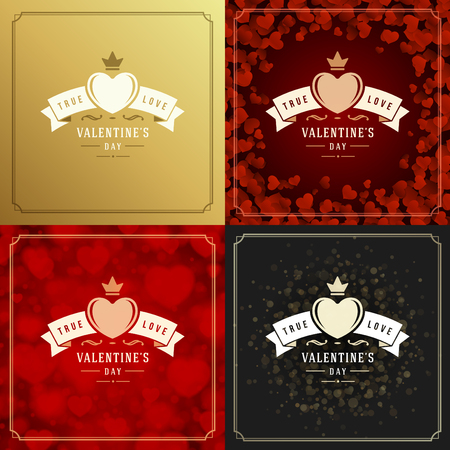romance: Happy Valentines Day Greeting Cards or Posters Set