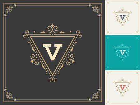 royal: Royal Logo Design Template Vector Decoration Flourishes Calligraphic Illustration